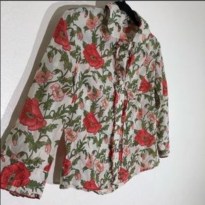Odille {anthro} red poppy floral button up sz. 4